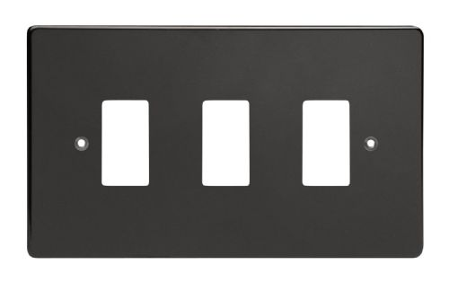 Varilight XDLPG3 PowerGrid Premium Black 3 Gang Grid Plate (Twin Plate)